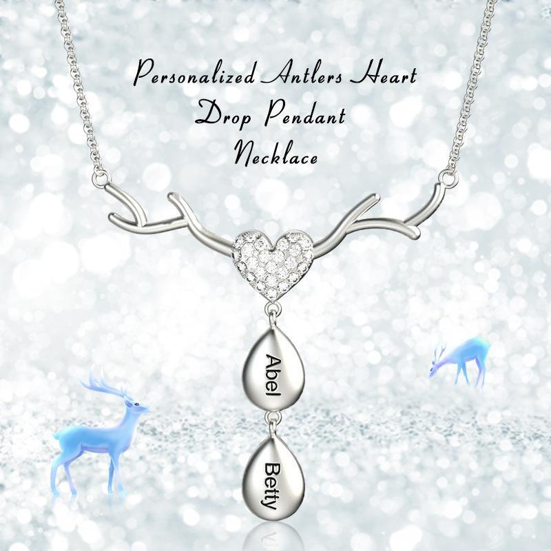 Aiyanishi 925 Серебряный персонализированный водяной ободз имени ожерелья elk пользовательские имени сердечный кулон ожерелья семьи матери рождественские подарки