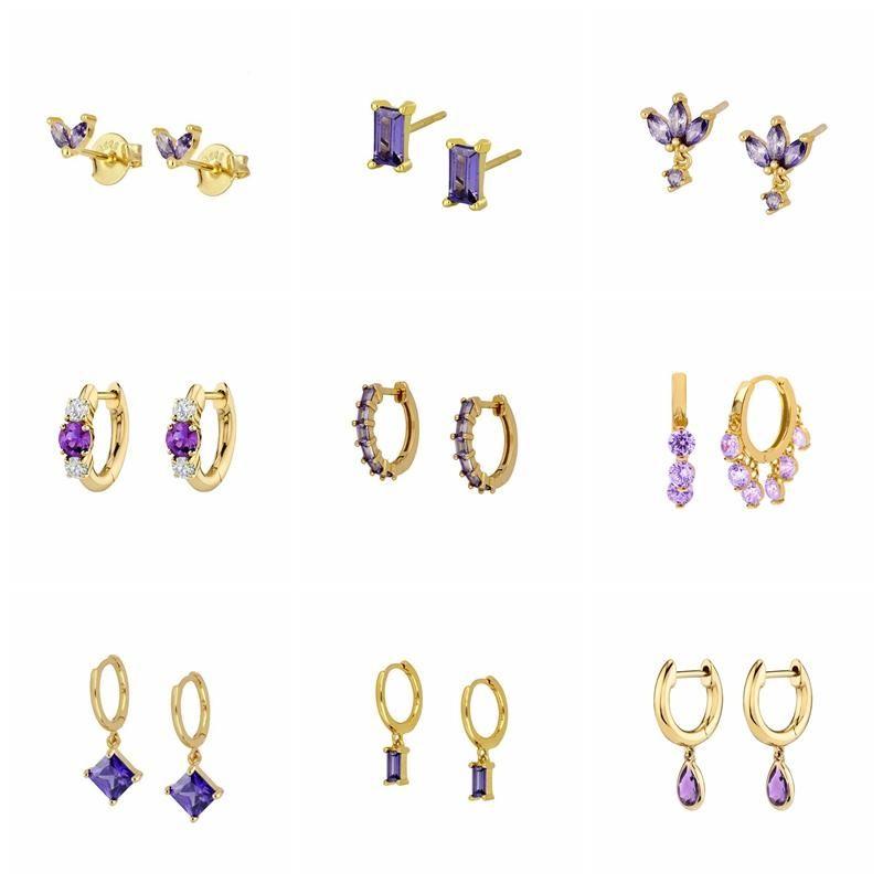 Hoop Huggie 925 Sterling Silber Ohrringe Frauen Romantische lila Zirkon Ohrring Für Valentinstag Kristall Jewerly Piercing Pendientes