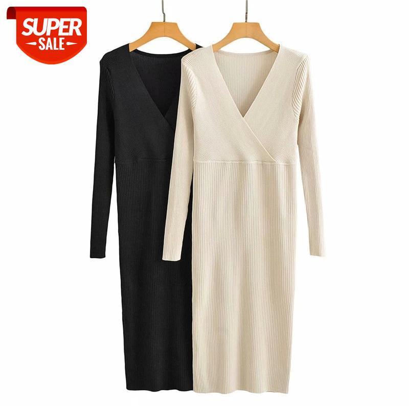 Femmes 2021 NOUVEAUX NOUVEAUX Robes longues MIDI MIDI MIDI légèrement cuits pour dames Noir Blanc Stre serré V tank Robe Chic # Ox9q