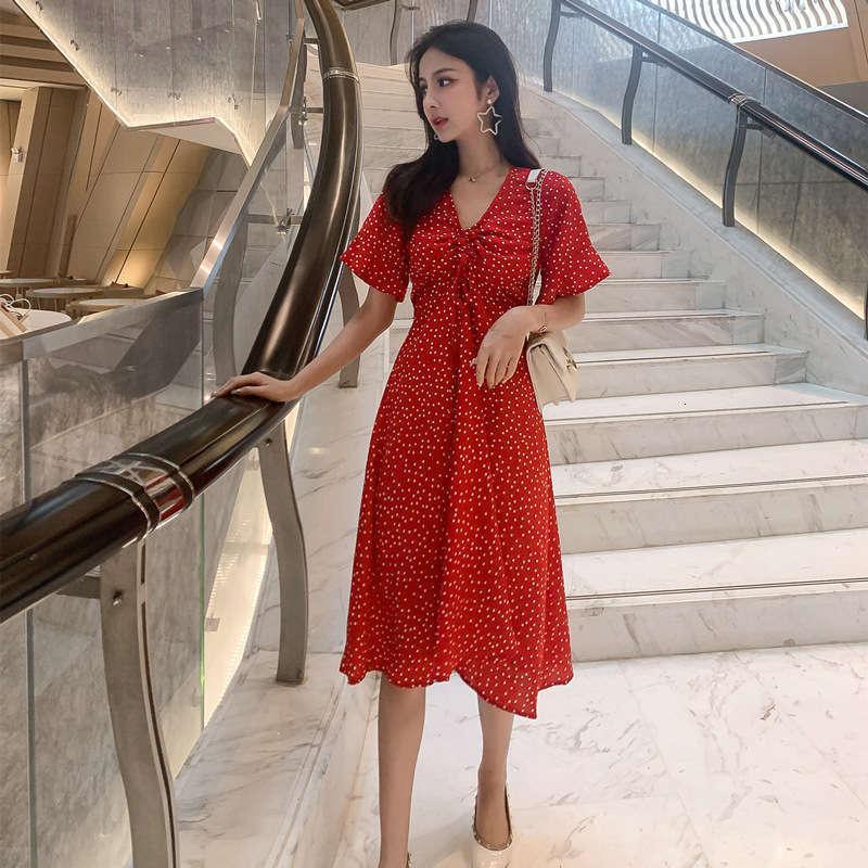 Günlük Elbiseler 6710 # Yaz aylarında Dalga Noktası V Yaka Şifon Elbise