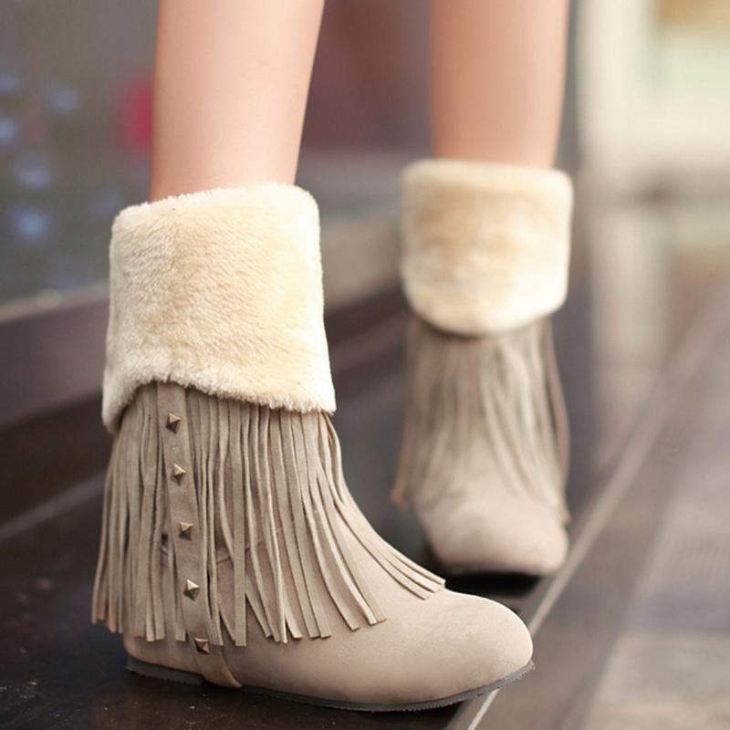 Boots Tassel Heightening Women Shoes Winter High Heel Ankle Female Block Mid Heels Casual Botas Mujer Booties Feminina Suede