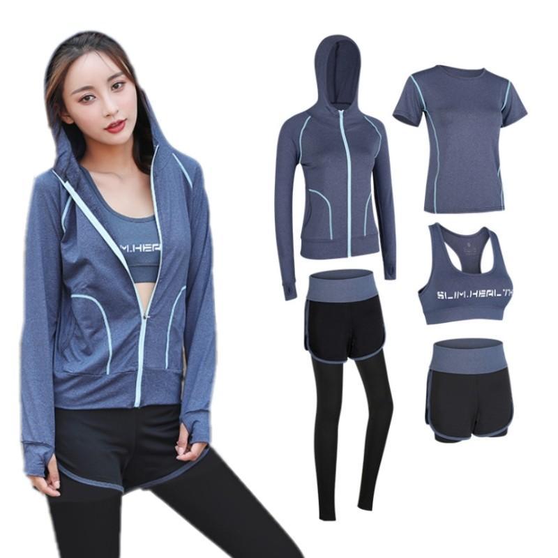 Tracksuits Fashion Designer женские йоги костюм спортивные одежды фитнес спортивные площадки пять частей набор 5 шт. 3 шт. 2 шт. Бюстгальтена легинги трусики рубашки шорты большого размера