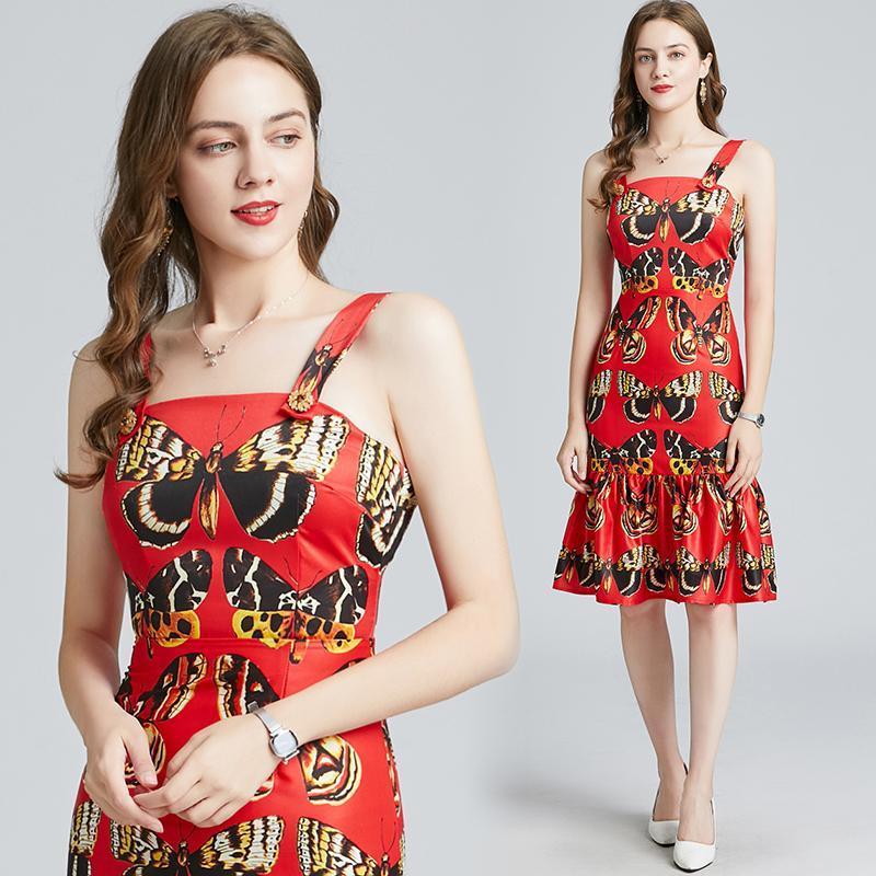 Merchall Tasarımcı Pist Spagetti Kayışı Elbise 2021 Yaz kadın Kolsuz Kelebek Baskı Ruffles Bodycon Mermaid Rahat Elbiseler