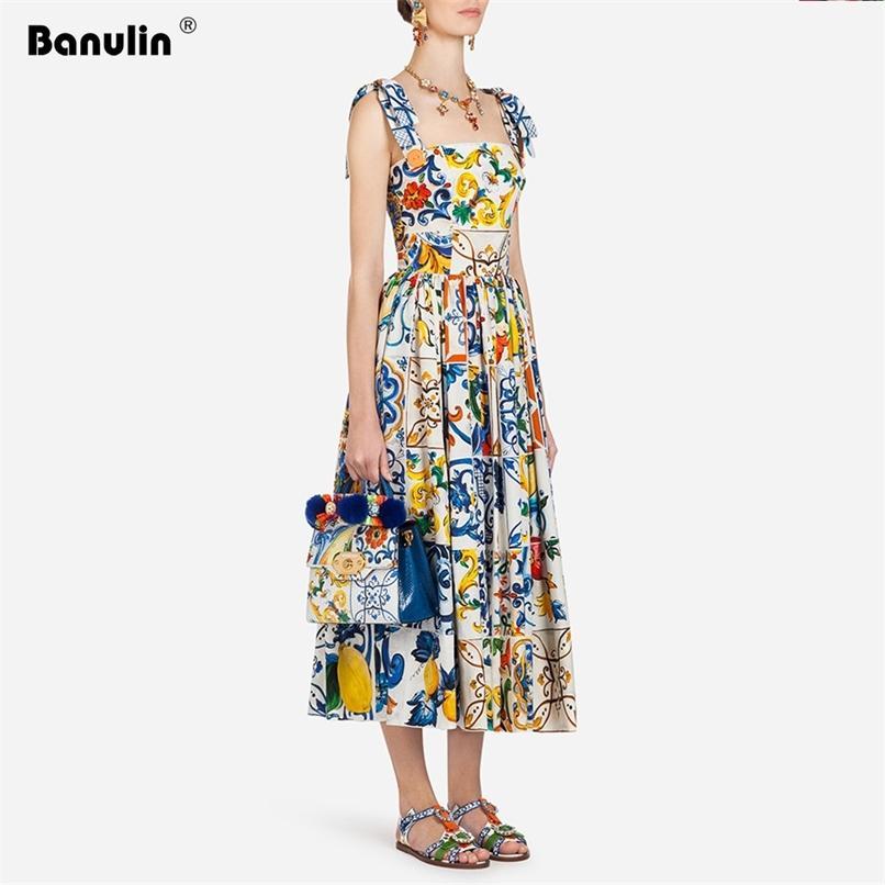 Fashion Runway Summer Dress Mulheres Bow Spaghetti Strap Lindo Floral Impressão Midi Algodão Vestidos 210521