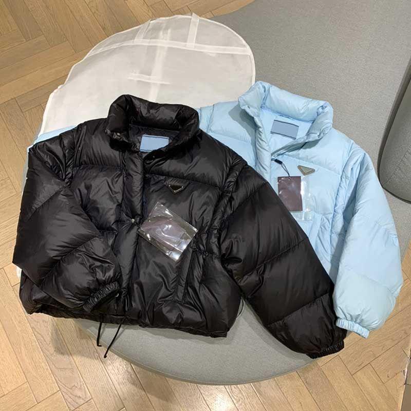 21FW mulheres jaqueta parkas para baixo casaco moda casaco curto estilo espartilho espartilho espartilho grosso windbreaker bolso outsize senhora casacos quentes s-l
