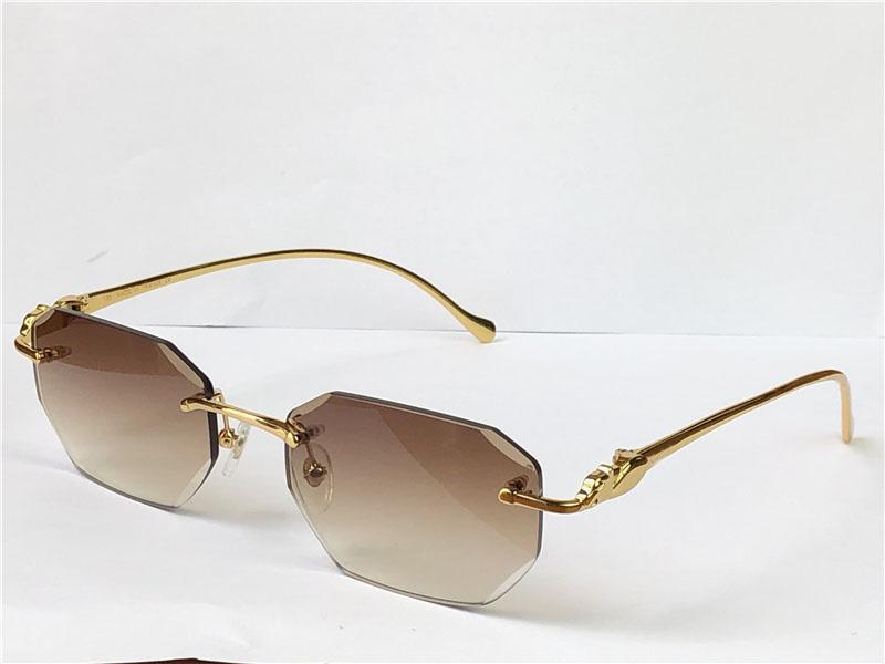 Satış Vintage Güneş Gözlüğü Düzensiz Çerçevesiz 5634295 Elmas Kesim Gözlük Retro Hayvan Tapınakları Moda Avant-Garde Tasarım UV400 Açık Renk Dekoratif Gözlük