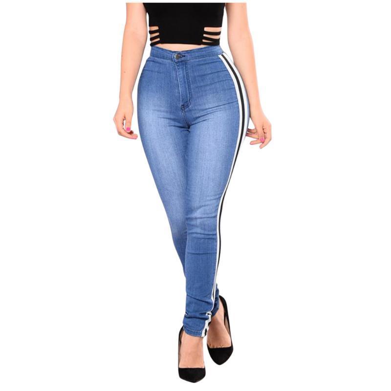 Casual Blue Jeans Skinny Jeans Freizeit Dehnbare lange Denim Hose 2020 Frühling Frauen Streetwear Streifen Seite zerrissen