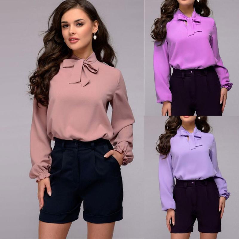 Camicette da donna Camicie Eleganti Camicia Papillon Elegante Camicetta Blusa Ufficio Lady Chiffon 2021 Primavera Autunno Solid Color Manica lunga Casual