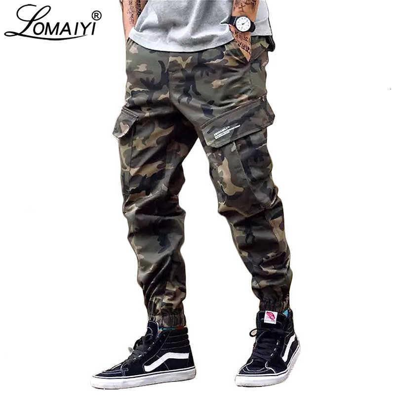 Lomaiyi Camo Joggers Erkekler Kargo Pantolon Erkek Askeri Siyah / Kamuflaj Pantolon Saf Pamuk Erkekler Kargo Pantolon Cepleri BM305 V191108