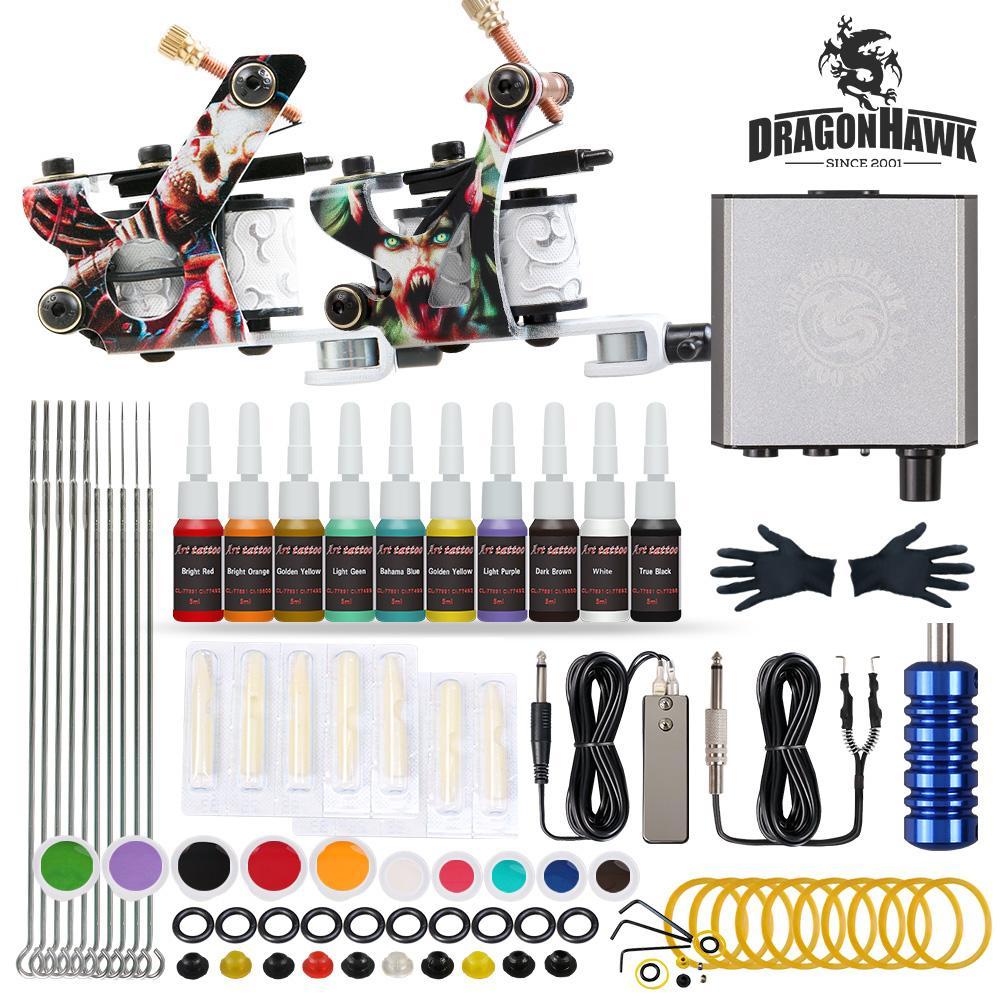 Beginner Tattoo Kit 2 Guns Machines 20 Inks Mini Power Supply Needles Set D175GD-23
