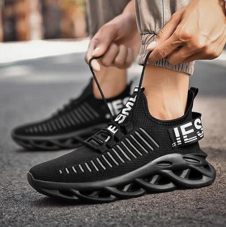 TEE3161 Açık Spor Ayakkabı Erkekler Hafif Koşucu Sneakers Mesh Nefes Dokuma Mesher Lace Up Jogging Yürüyüş