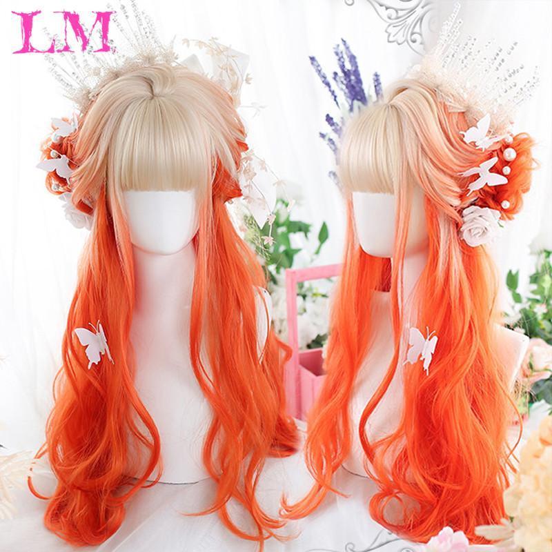Длинный омбре красочный синтетический косплей Лолита Хараджуку парик с челками натуральные волнистые парики розовый фиолетовый синий