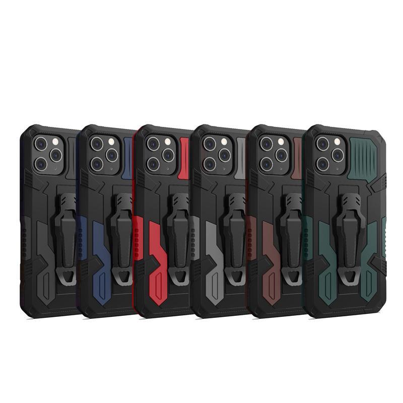 Luxe avec écrans de courroie Holster Coques antichoc pour iPhone 12 Pro Max Mini XR XS X 8 7 6 Plus Support Mount de la voiture Magnétique Mount du disque dur TPU de défenseur Hybride Couche Hybride Couvercle de téléphone Peau