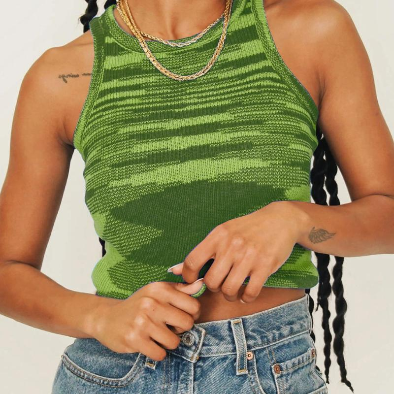 Yaz Örgü Kırpma Üst Kadın Kolsuz Y2K Tankı Temel T Shirt Rahat Bodycon Yelek Vintage Yeşil Streetwear Bayan Tankları Camiş