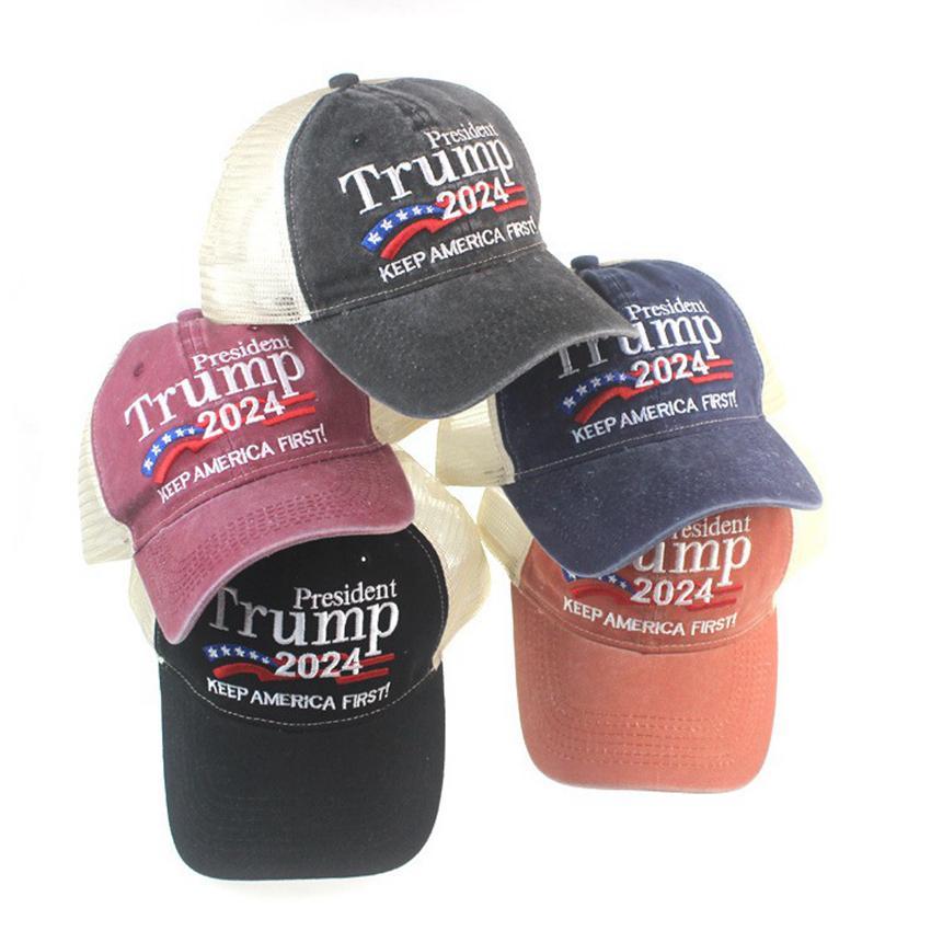 Дональд Трамп 2024 Бейсбольная кепка Лоскутное мытье Открытый Открытый Держать Америку Первая Шляпа Открытый Спортивный Вышитый Трамп Сетки Шляпы Cyz3069 30 шт.