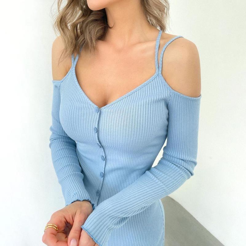 Casual Kleider Sexy Blue Off Schulter Strick Thread Dress Langarm Knöpfe Tief V Elegant Office Damen Für Frauen Outfits