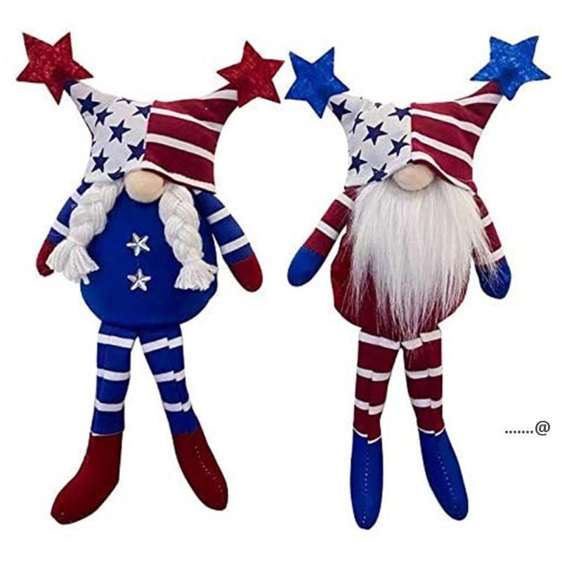 Patriotische Gnome Geschenke Independence Day Urlaub Dekoration Handgemachte skandinavische Tomte Elf Zwerg Gnomes Plüsch Puppe FWB6084