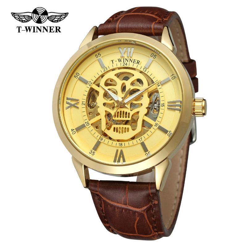 T-Kazanan erkek İzle İskelet Kafatası Otomatik Antik Hakiki Deri Kayış Relojes Şeffaf Kol Swrat WRG8141M4 Saatı
