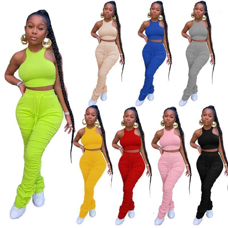 Plus größe 2 zwei stück set frauen outfits gestapelte hosen leggings crop top weibliche damen trainingsanzug joggers frauen passende sets1