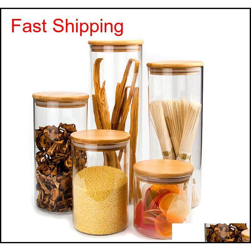 Botones de almacenamiento transparentes Corchos Cubra los frascos para alimentos líquidos de arena Ecofriendly botellas de vidrio con tapa de bambú 7C3RV U2E7T