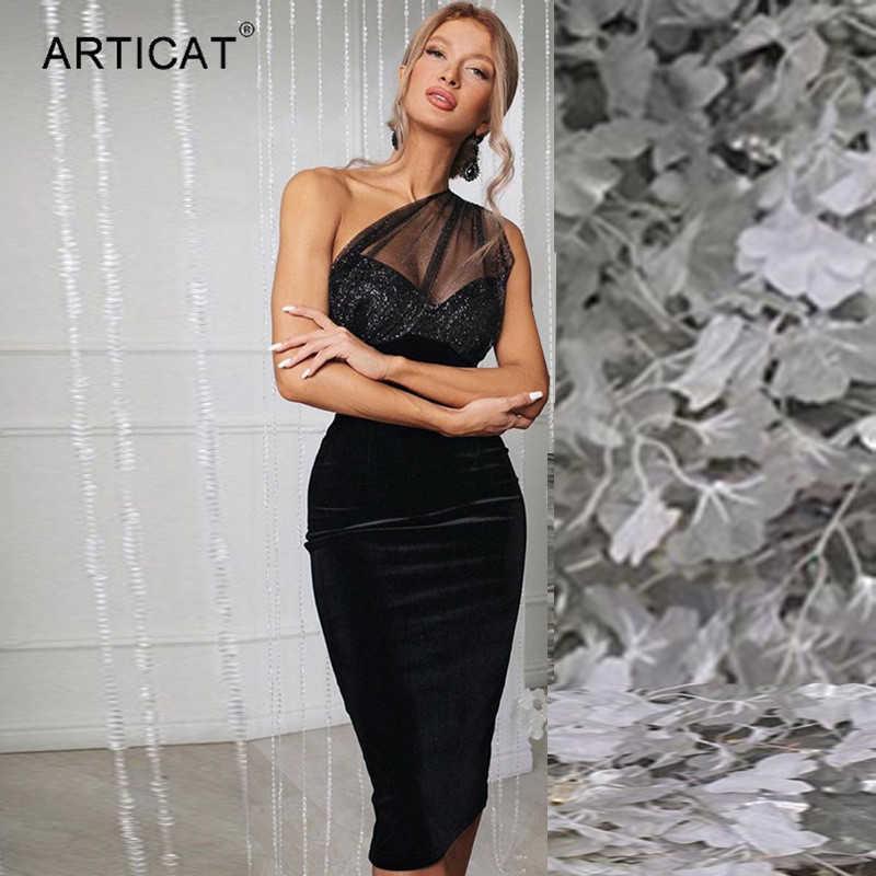 Articat Velvet Mesh Patchwork Sequins Elegant Party Dresses Women One-shoulder Bodycon Black Midi Vestido Sexy Split Black Dress 210604