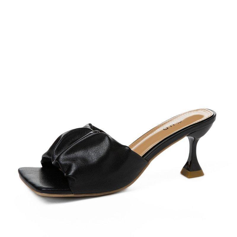 2021 Kadın Terlik Pileli Yaz Işık Seksi Açık Toe Katı Renk Sandalet Stiletto Topuklu Kadınlar Lüks Balo Kadın Siyah Ayakkabı Sifuyhgihg