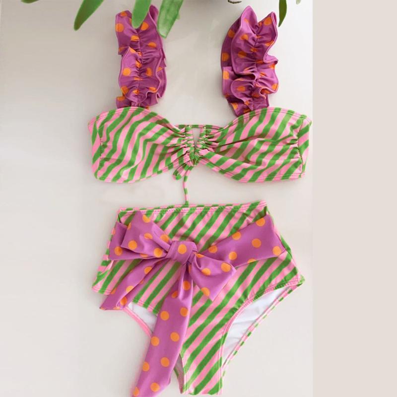 Push-Up Two Pieces Women Floral Padded Bra Ruffles Bandage Bikini Set Swimsuit Swimwear Bathing Suit Beach Wear Biquini Two-piece Suits