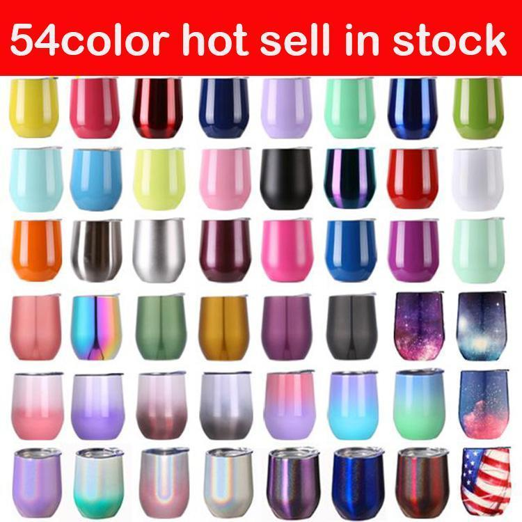 12oz Solid Color Eggshell Mug Vacuum Insulated Wine Glasses Double Layer Stainless Steel Tumblers With Lid WWQ