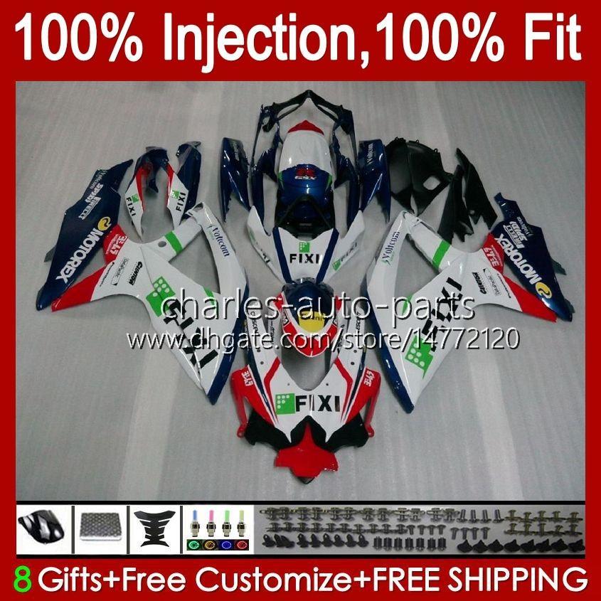 Suzuki 화이트 블루 재고 GSXR600 K8 GSX-R750 GSXR-600 GSXR-750 GSXR750 Bodywork 9hc.12 GSX-R600 2009 2010 GSXR 600 750 CC 600CC 750cc 08 09 10 Fairing