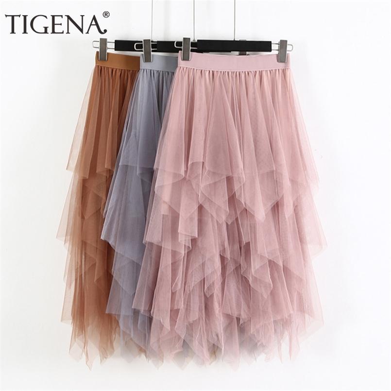 Tigena طويل تول تنورة النساء أزياء الربيع الصيف عالية الخصر مطوي ماكسي تنورة الإناث الوردي الأبيض الأسود مدرسة تنورة الشمس 210407