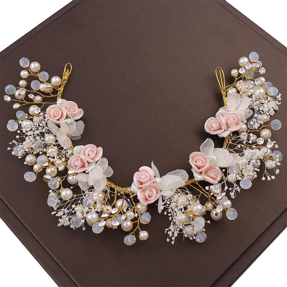 Neue Brautstuhlbandstudio Handgemachte Hochzeit Haarband Hochzeitskleid mit Kristallhaarkammzubehör Stirnband