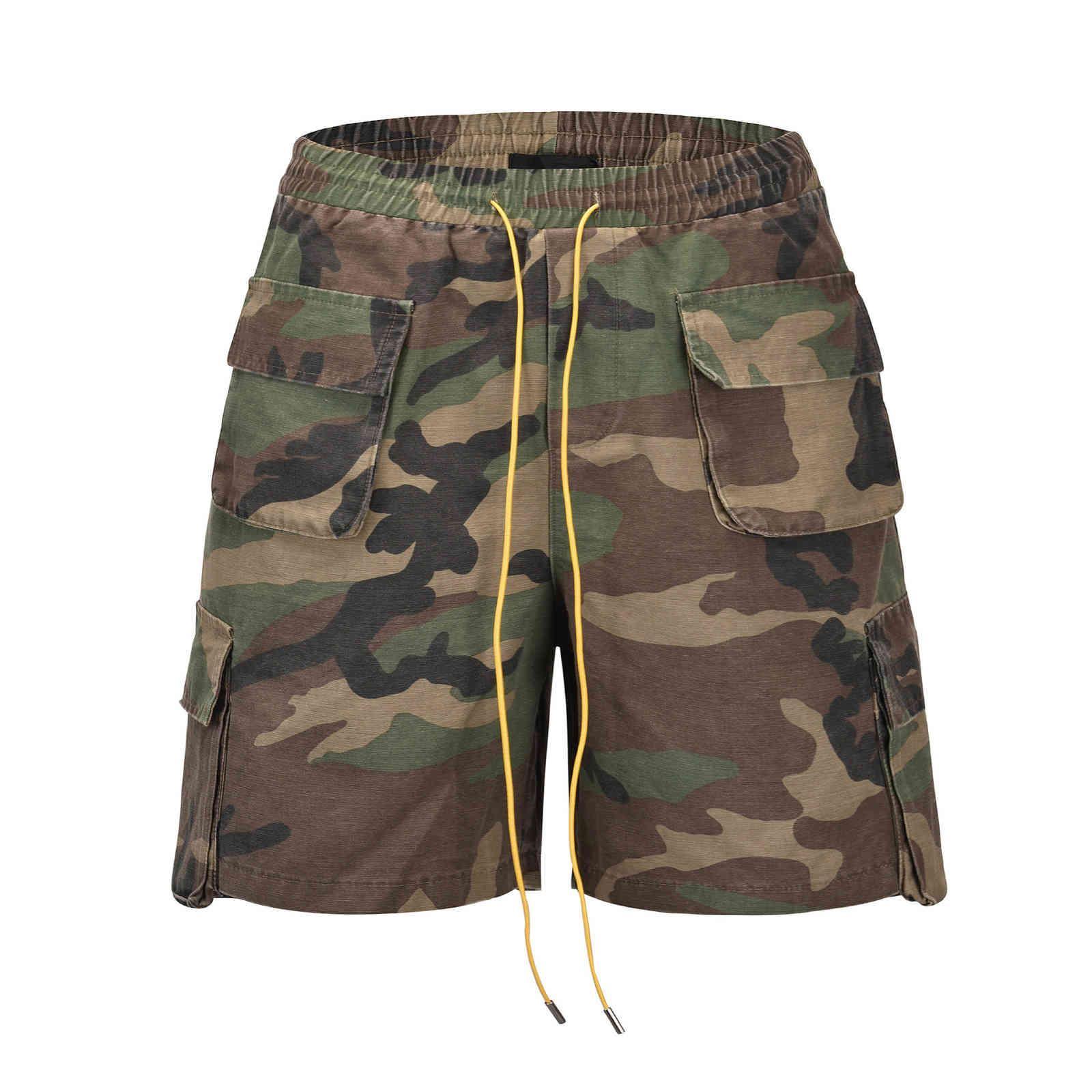 O estilo rhude mesma camuflagem lavada e desgastada high street os homens soltos homens e shorts de mulheres bolso calças