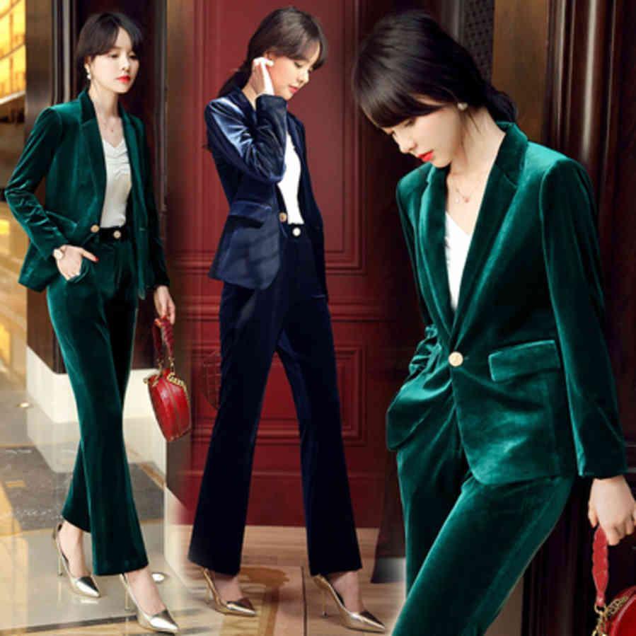 Fashion Automne NOUVELLE GRAND SUPPORT DE VEIL EN BUSINES DÉCURITÉ FEMMES + PANTALES DE TAILLE DE TAILLE S-4XL