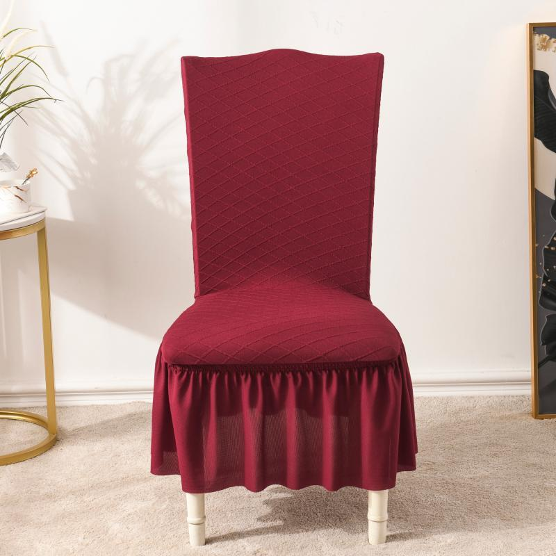 Jacquard Plaid Chair Cover Kleid Spitze Spandex elastische Abdeckungen für Büro-Hochzeits-Speisen-Bankett 1/2/4/6 PCs