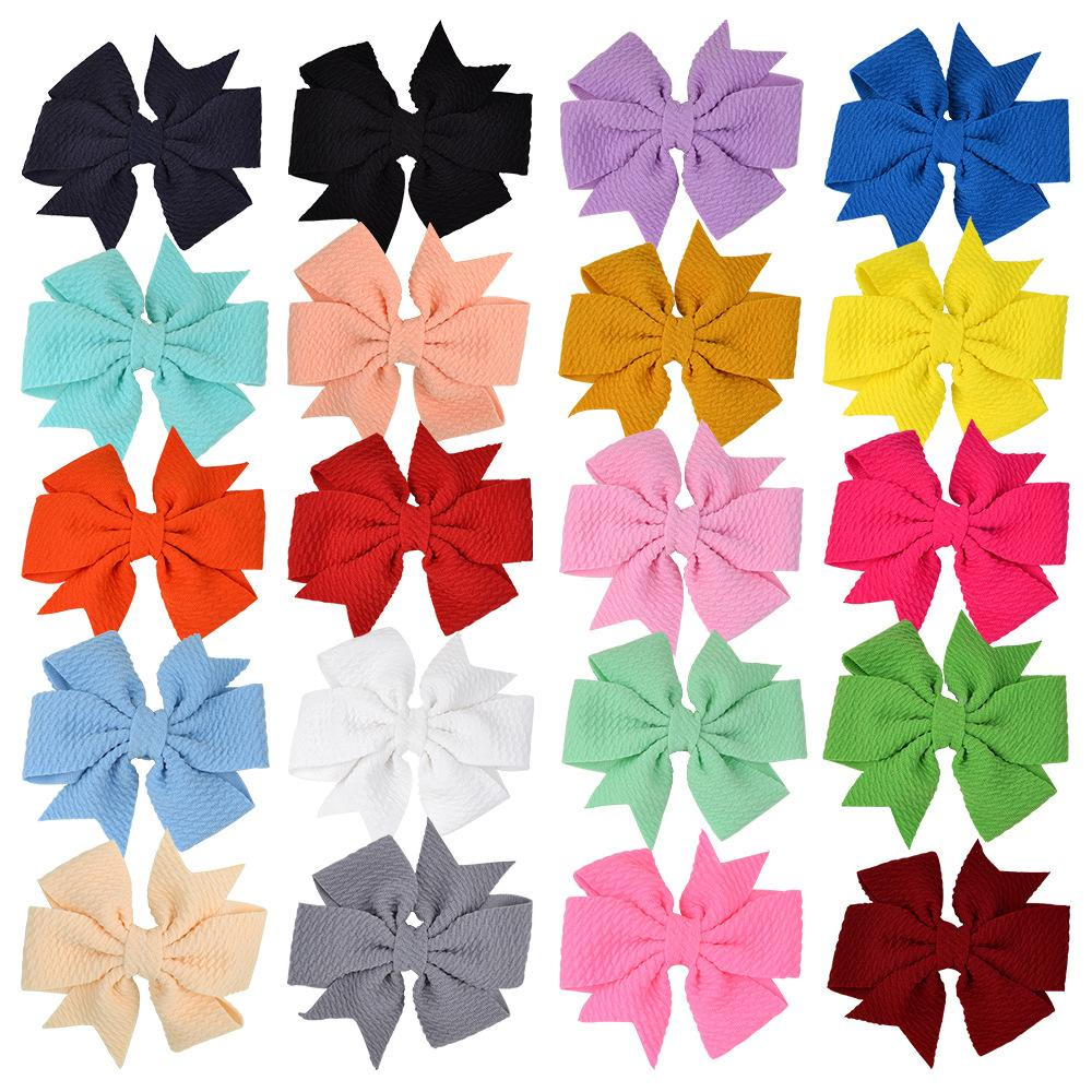 Baby Girls Bowknot Hairpins Solid Grosgrain Ribbon Bows With Alligator Clips Childrens Hair Accessories Kids Boutique Bubble Bow Barrette KFJ286