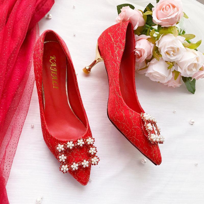 Kleidschuhe Est Frauen Rot Satin Seide Perle Strass Hochzeit Weibliche High Heels Elegant Party Pumps