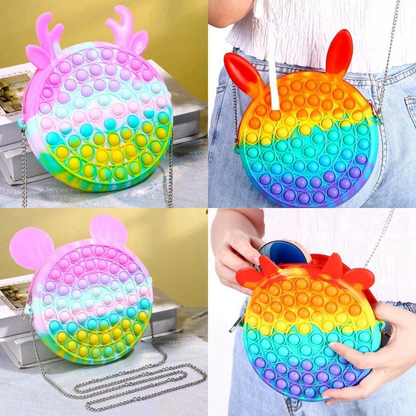 New Rainbow Push Bubble Fidget Toy Messenger Bags Party Favor Cartoon Handbag Silicone Stress Reliever Sensory Toy