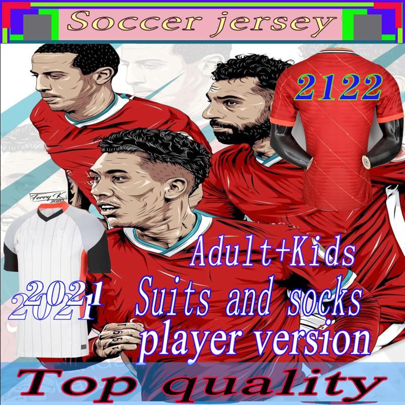 20 21 22 لاعب نسخة LVP Soccer Jerseys Gerrard الإصدار الخاص Smicer Alonso Hamann Barnes Kuyt Cisse جديد 2021 قميص كرة القدم الرجال + دعوى للأطفال