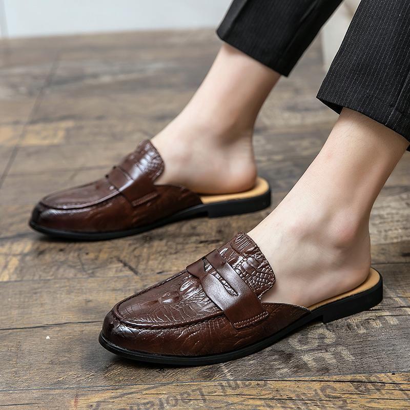 أحذية الرجال الجلود نصف للانزلاق على الصيف الشريحة شبشب العلامة التجارية مصمم الإيطالية رجل عارضة النعال