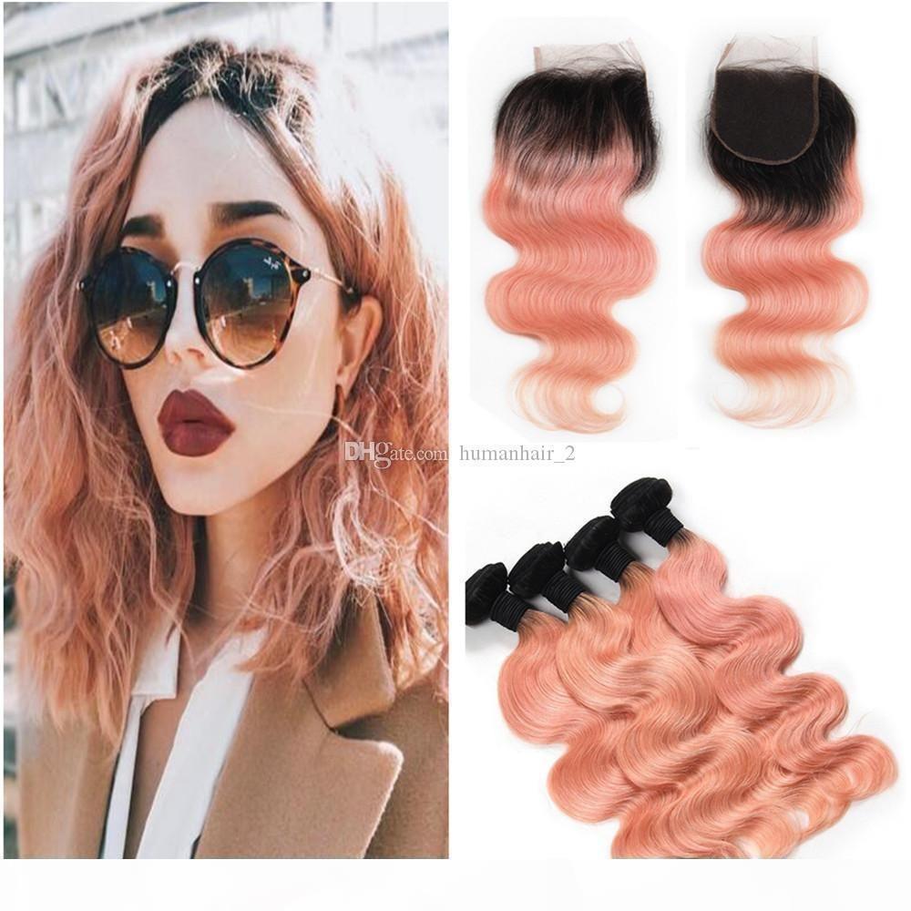 Rose Gold Ommre волосы с 4 * 4 кружева закрытие бразильская девственница румяна золотая волна тела человеческие волосы ткань темный корень с верхним закрытием