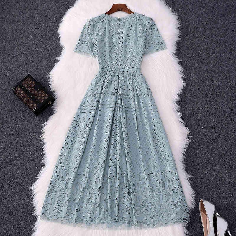 Zarif kadın yüksek kaliteli dantel modası kısa içi boş tasarımcıları orta buzağı aline seksi parti elbise yaz