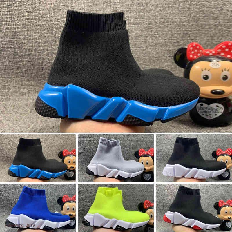 Moda 2021 Bambini Stivaletti Stivaletti Speed Stretch Mesh High Top Chaussure Trainer Scarpe da corsa Speed Sneakers a maglia Mid-Top Sneakers SQNN