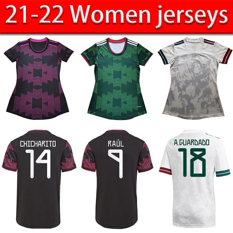 المشجعين النسخة المكسيك كرة القدم الفانيلة Camisetas 2022 Chicharito Lozano Dos Santos Moreno Alvarez Raúl 2021 كرة القدم قمصان النساء 21 22