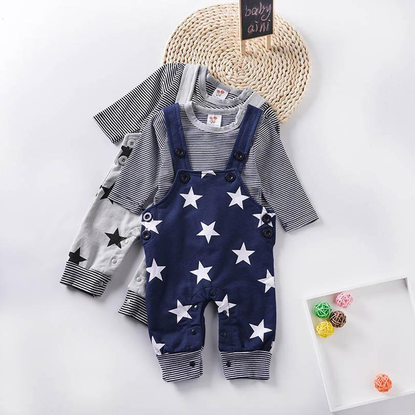 Clothing Sets Boy Suit Boys Baby Outfits Clothes Cotton Long Sleeve T Shirt Suspenders Trousers 0-15M B4220