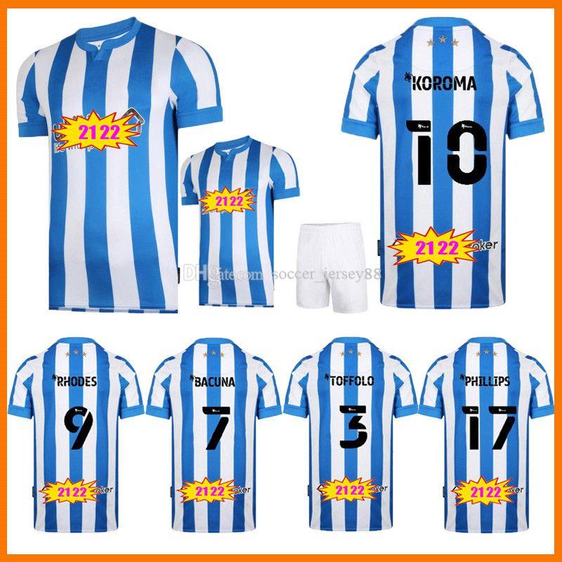 2021 2022 Huddersfield Soccer Jerseys 21 22 Koroma Campbell Bacuna Sarr Mbenza Toffolo Home Blue Men Kits Kits Camisetas de fútbol Maillots Camiseta Camisa De Futebol