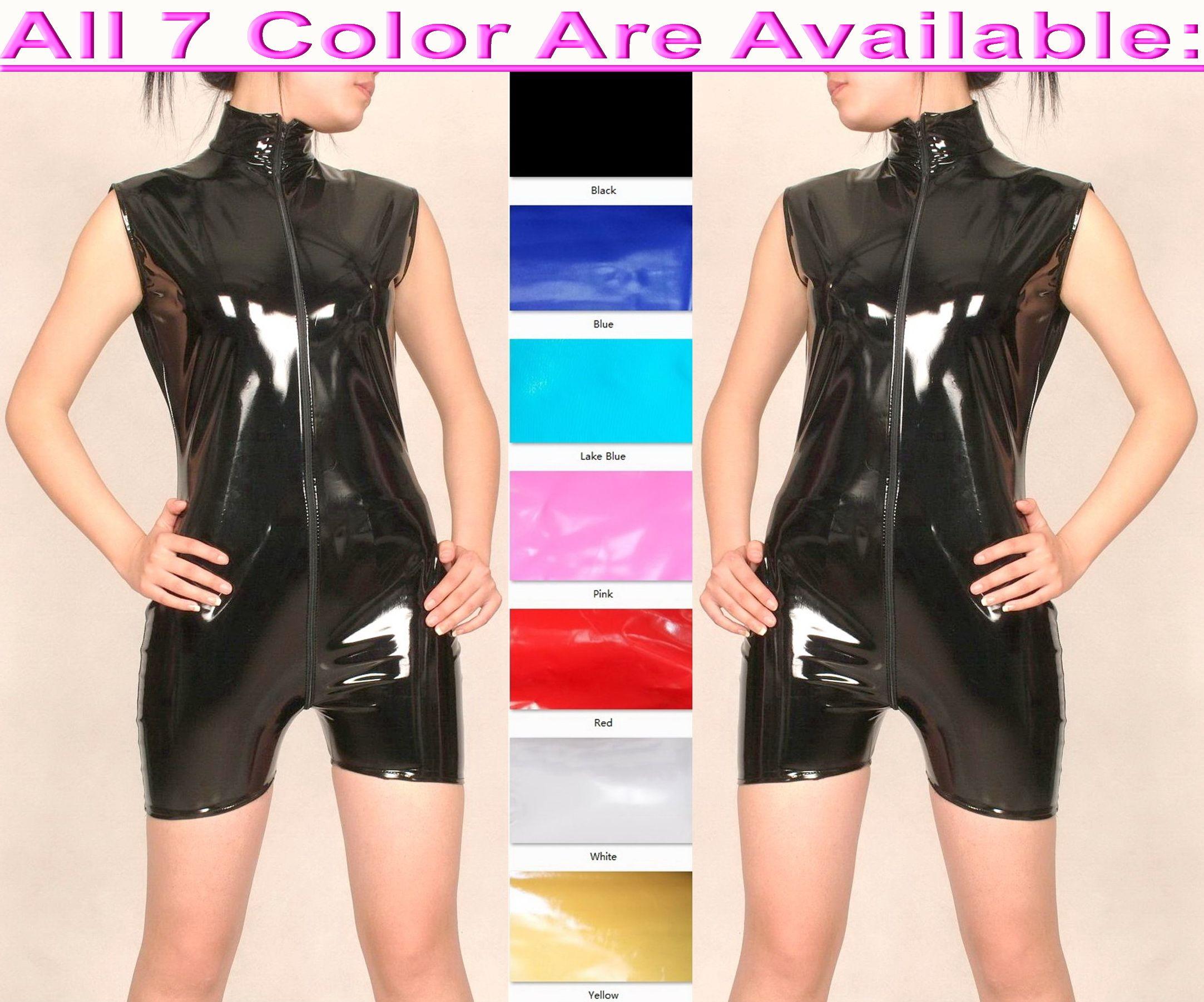 Sexy Women Men Short Body Suit Costumes Sleeveless 7 Color Shiny PVC Catsuit Unisex Bodysuit Front Extra Long Zipper Halloween Party Fancy Dress Cosplay Costume M733