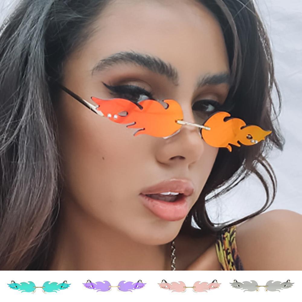 Creative Fashion Fire Llama Gafas de sol Mujeres Rimless Mirror Metal Vintage Eyewear UV400 Espejo Océano Lente Enamorada Gafas de sol