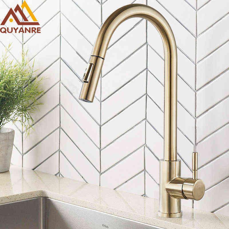Quyanre escovado torneira de cozinha de ouro puxar para fora pia cozinha torneira de água Único punho mixer toque 360 rotação torneira de chuveiro de cozinha 210724