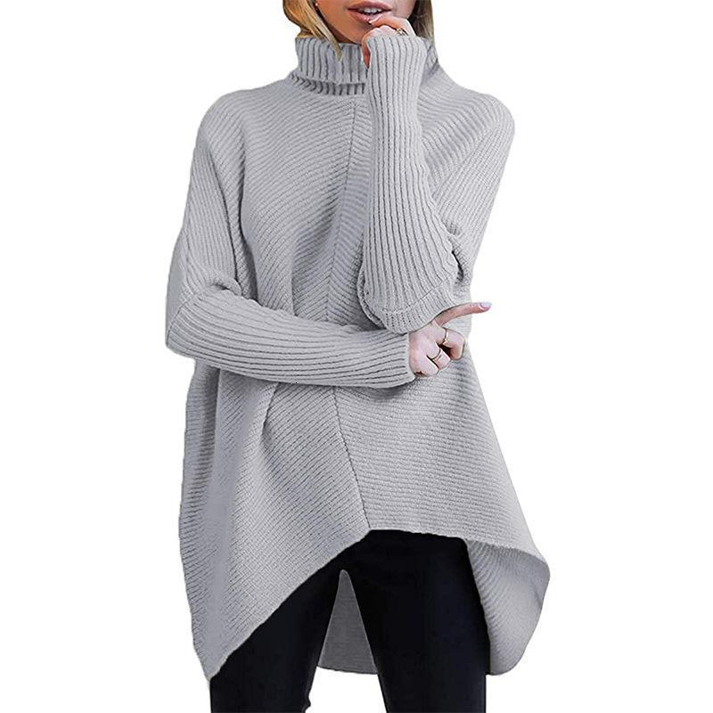 Негабаритный свитер Женская водолазка Длинные Batwing Рукав Асимметричный поют Повседневные свитеры Пуловер Осенью и зимние вязаные вершины