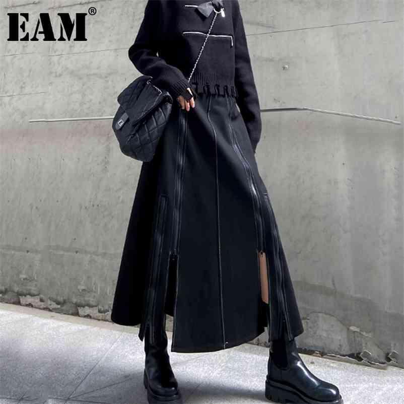 [EAM] Hohe Taille Black Kurzer Reißverschluss gespleißt Langer Split Gelenk Half-Body Rock Frauen Mode Flut Neue Frühling Herbst 1DD1712 210412